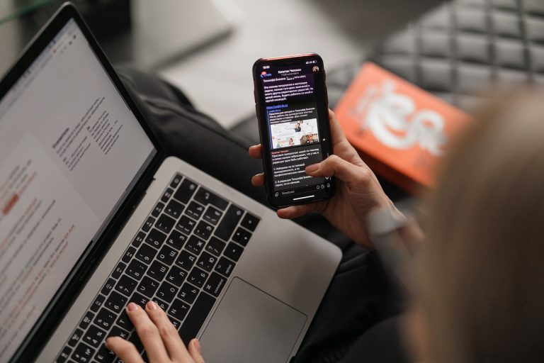 a phone and laptop