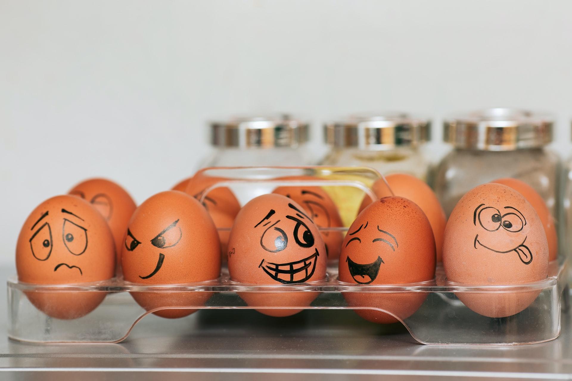 cartooned eggs